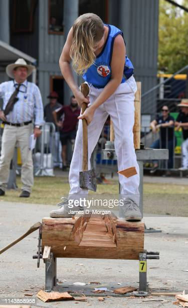Young boy wood chopping during a competition during the Sydney Royal Easter Show at Sydney Showground on April 20, 2019 in Sydney, Australia. The...