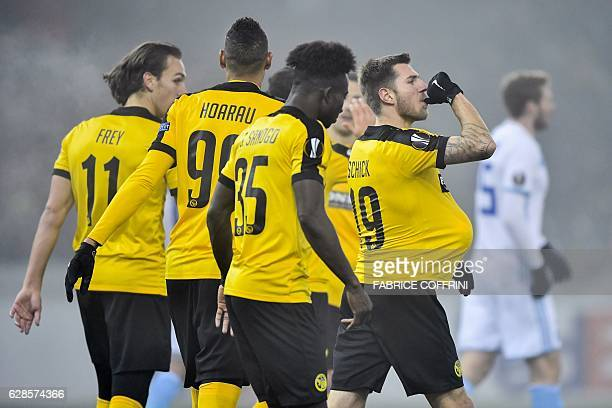 Young Boys' Austrian midfielder Thorsten Schick celebrates with teammates after scoring a goal during the UEFA Europa League group stage football...
