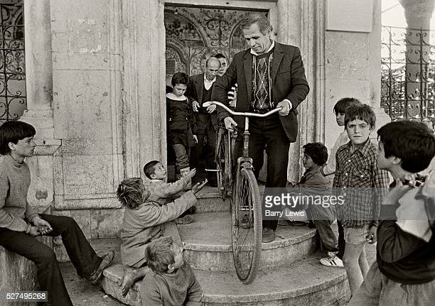 Young boys begging from worshipers leaving the Et'hem Bey mosque located in the center of the Albanian capital Tirana In January 1991 despite...