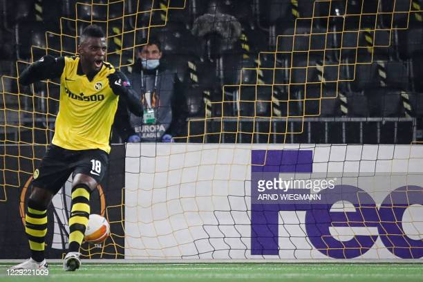 Young Boys' Cameroon forward Jean Pierre Nsame celebrates after scoring a goal during the UEFA Europa League Group A first-leg football match between...