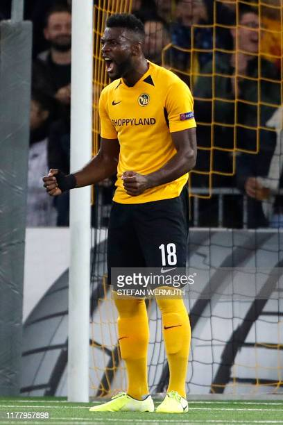 Young Boys' Cameroonian forward Jean Pierre Nsame celebrates after scoring a penalty kick during the Europa League Group G football match between BSC...