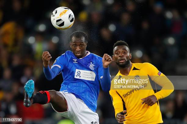 Young Boys' Cameroonian forward JeanPierre Nsame and Glasgow Rangers' Finnish midfielder Glen Kamara fight for the ball during the UEFA Europa League...