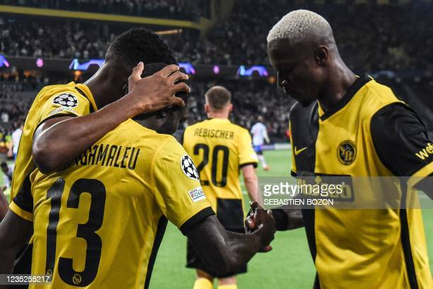 Young Boys' Cameroonian midfielder Nicolas Moumi Ngamaleu celebrates after scoring a goal during the UEFA Champions League Group F football match...