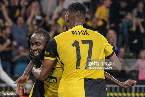 Young Boys' Cameroonian midfielder Nicolas Moumi Ngamaleu celebrates after scoring a goal with teammates during the UEFA Champions League Group F...