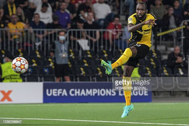 Young Boys' Cameroonian midfielder Nicolas Moumi Ngamaleu shoots the ball during the UEFA Champions League Group F football match between Young Boys...