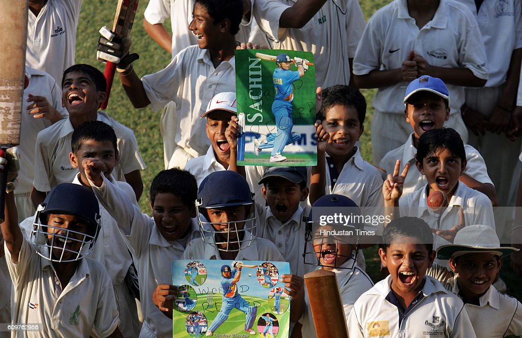 Young boys exhilerate for Sachin Tendulkar`s recording breaking score wherein he became the highest testrun scorer on the first day of their second...