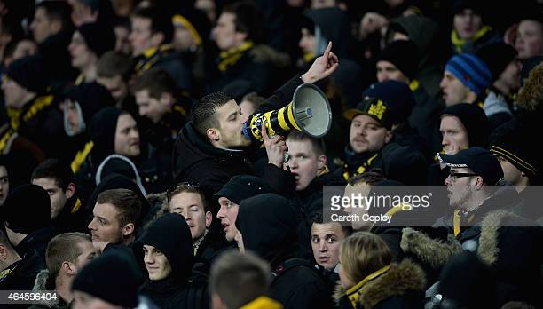Young boys fans cheer on their team during the UEFA Europa League Round of 32 match between Everton and BSC Young Boys on February 26 2015 in...