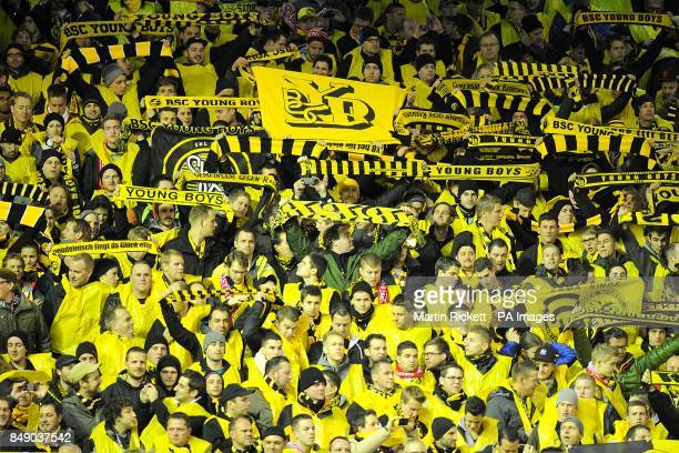 Young Boys fans in the stands before kickoff