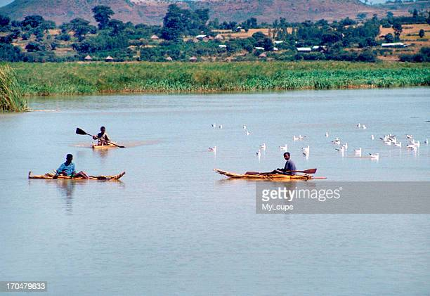 Young boys fishing from papyrus reed boats on the Blue Nile River near Lake Tana Bahar Dar Ethiopia