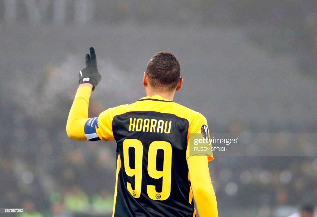 Young Boys' forward Guillaume Hoarau reacts after scoring during the UEFA Europa League Group B football match between Young Boys and Skenderbeu at Stade de Suisse stadium in Bern on December 7, 2017. / AFP PHOTO / Ruben SPRICH