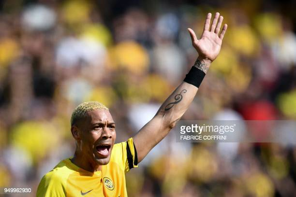 Young Boys' French forward Guillaume Hoarau reacts during the Swiss Super League football match Young Boys against LausanneSport at the stade de...
