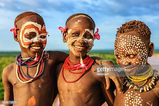 Young boys from Karo tribe, Ethiopia, Africa