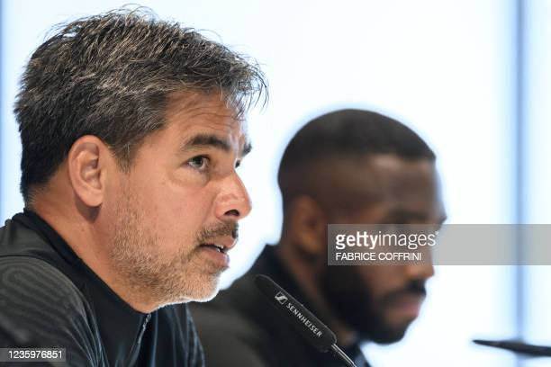 Young Boys' German coach David Wagner and Young Boys' Swiss defender Ulisses Garcia give a press conference on the eve of the UEFA Champions League...