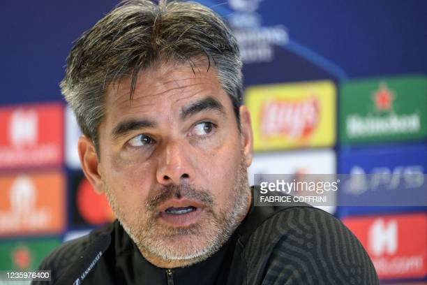 Young Boys' German coach David Wagner gives a press conference on the eve of the UEFA Champions League first round group F football match between...
