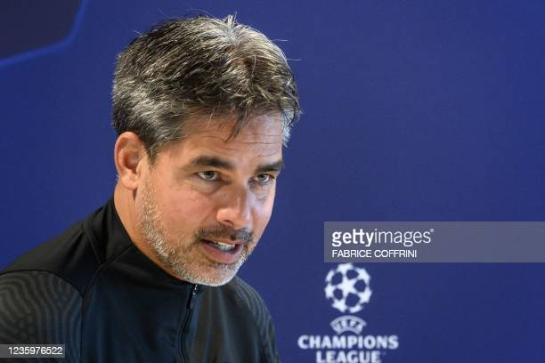 Young Boys' German coach David Wagner looks on during a press conference on the eve of the UEFA Champions League first round group F football match...