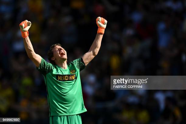 Young Boys' goalkeeper Marco Wolfli celebrates after a goal during the Swiss Super League football match Young Boys against LausanneSport at the...