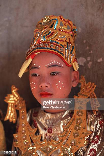Young boys in traditional costume during a coming of age ceremony called Poy Sang Long
