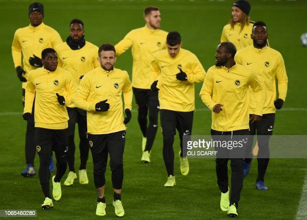 Young Boys' Ivorian forward Roger Assale Young Boys' Swiss midfielder Pedro Teixeira Young Boys' Cameroonian midfielder Moumi Ngamaleu and Young...