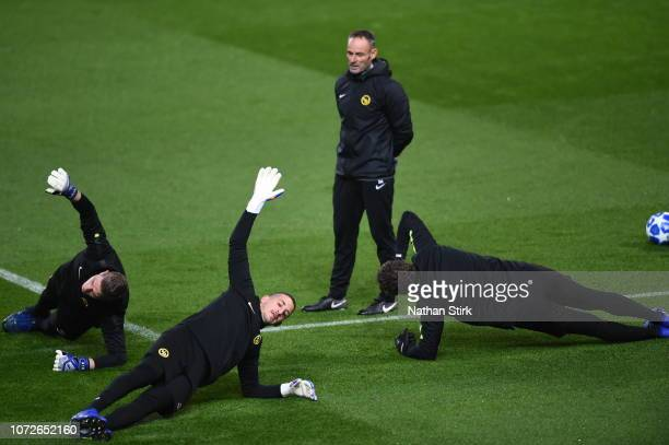 Young Boys' Marco Wolfli David von Ballmoos and Dario Marzino during a training session on the eve of the UEFA Champions League Group H match against...