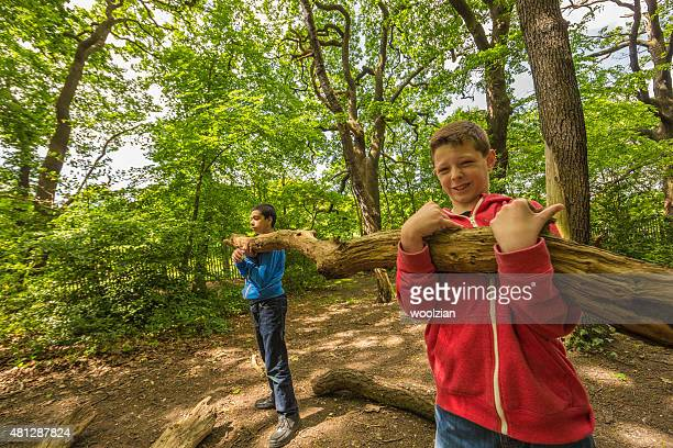 Young boys outdoor teamwork
