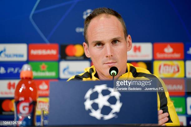 Young Boys player during the Champions League press conference at Allianz Stadium on October 1 2018 in Turin Italy