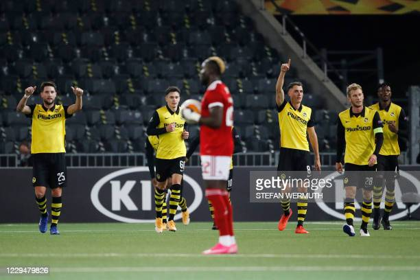 Young Boys' players celebrate scoring their third goal during the UEFA Europa League Group A first-leg football match between Young Boys and CSKA...