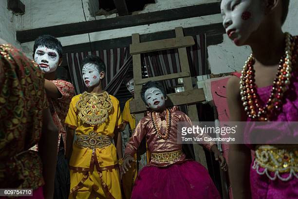Young boys prepare to perform night theater depicting the Dash Avatara or 10 incarnations of Hindu Lord Vishnu during the Indra Jatra festival in...