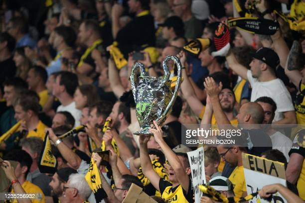 Young Boys' supporters celebrate after winning the UEFA Champions League Group F football match between Young Boys and Manchester United at Wankdorf...
