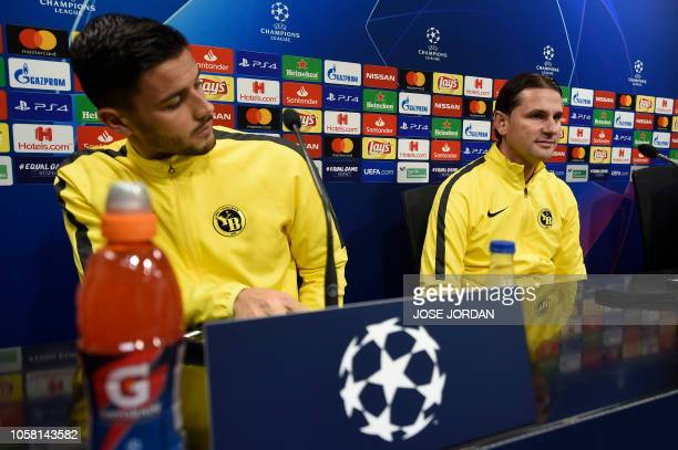 BSC Young Boys' Swiss defender Loris Benito and Swiss coach Gerardo Seoane hold a press conference at the Mestalla stadium in Valencia on November 6...