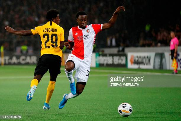 Young Boys' Swiss defender Luis Sinisterra and Feyenoord's Dutch defender Lutsharel Geertruida vie for the ball during the Europa League Group G...