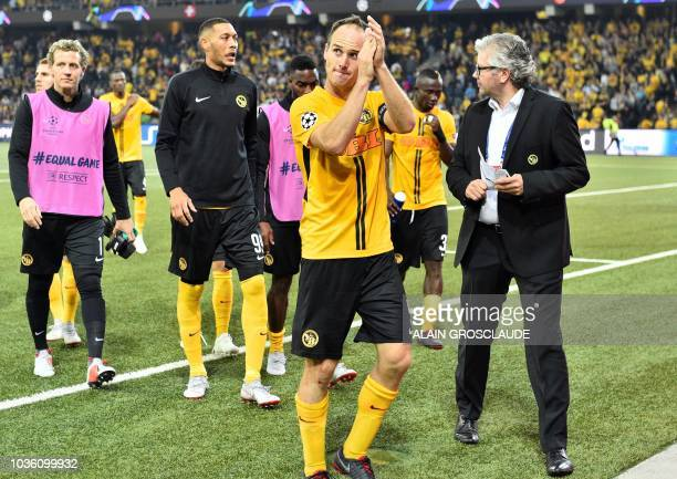 Young Boys Swiss defender Steve von Bergen applauds supporters after the UEFA Champions League group H football match between Young Boys and...