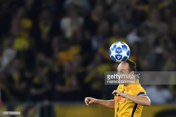 Young Boys Swiss defender Steve von Bergen controls the ball during the UEFA Champions League group H football match between Young Boys and...