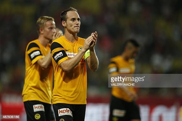 Young Boys' Swiss defender Steve von Bergen reacts at the end of the UEFA Champions League third qualifying round second leg football match between...