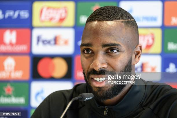 Young Boys' Swiss defender Ulisses Garcia attends a press conference on the eve of the UEFA Champions League first round group F football match...