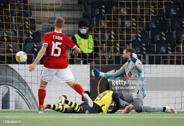 Young Boys' Swiss forward Felix Mambimbi scores a goal during the UEFA Europa League Group A first-leg football match between Young Boys and CSKA...