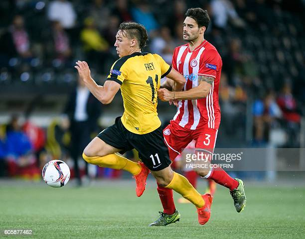 Young Boy's Swiss forward Michael Frey and Olympiacos' Spanish defender Alberto Botia vie for the ball during the UEFA Europa League group B football...