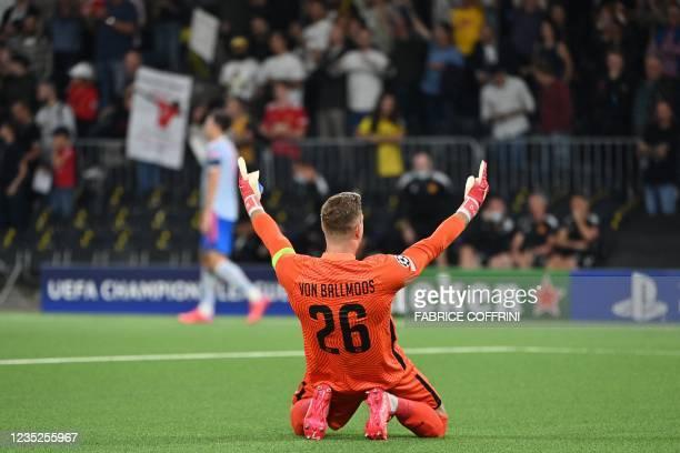 Young Boys' Swiss goalkeeper David Von Ballmoos celebrates after Young Boys' US forward Jordy Siebatcheu Pefok scored his team's second goal during...