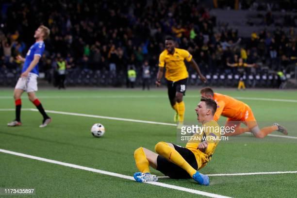Young Boys' Swiss midfielder Christian Fassnacht celebrates after scoring a goal against Glasgow Rangers' Scottish goalkeeper Allan McGregor during...