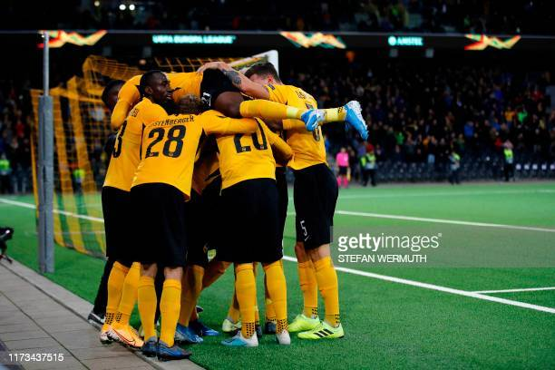 Young Boys' teammates celebrate after scoring a goal during the UEFA Europa League group G football match between Young Boys and Glasgow Rangers at...