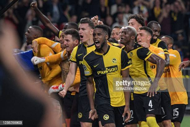 Young Boys' US forward Jordy Siebatcheu Pefok celebrates after scoring a goal with teammates during the UEFA Champions League Group F football match...