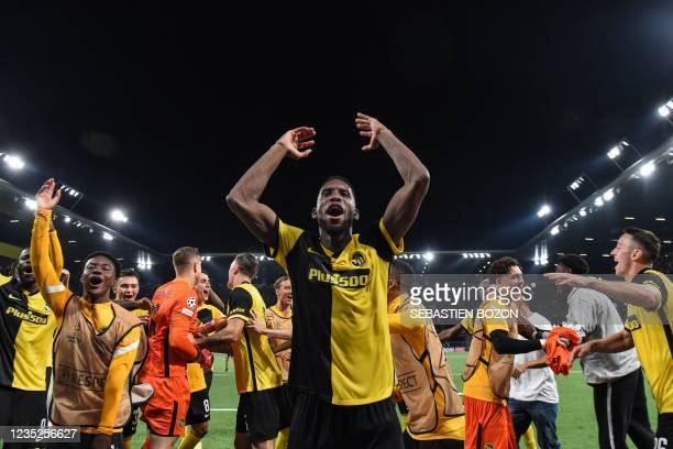 Young Boys' US forward Jordy Siebatcheu Pefok celebrates with teammates after winning the UEFA Champions League Group F football match between Young...