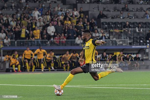 Young Boys' US forward Jordy Siebatcheu Pefok shoots and scores a goal during the UEFA Champions League Group F football match between Young Boys and...