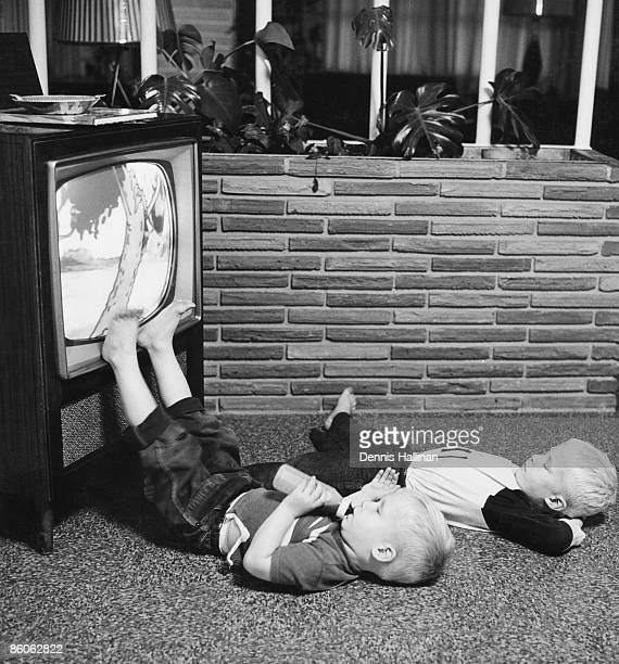 Young Boys Watching Television