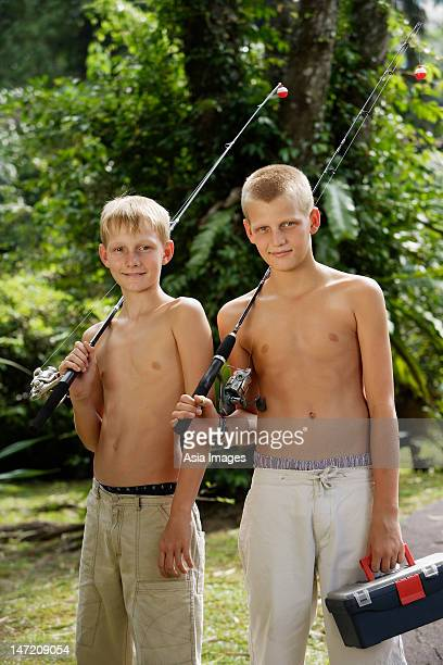 young boys with fishing gear