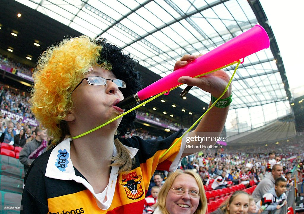 A young Bradford fan pictured during the Engage Super league Grand Final between Leeds Rhinos and Bradford Bulls at Old Trafford on October 15, 2005 in Manchester, England.
