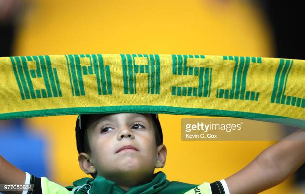 A young Brazil fan enjoys the pre match atmosphere prior to the 2018 FIFA World Cup Russia group E match between Brazil and Switzerland at Rostov...