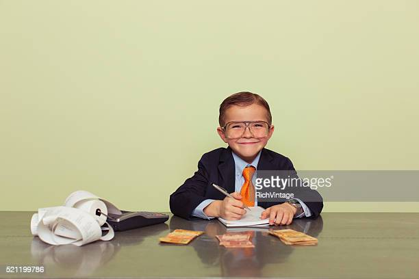 Young Brazilian Boy Accountant with Money