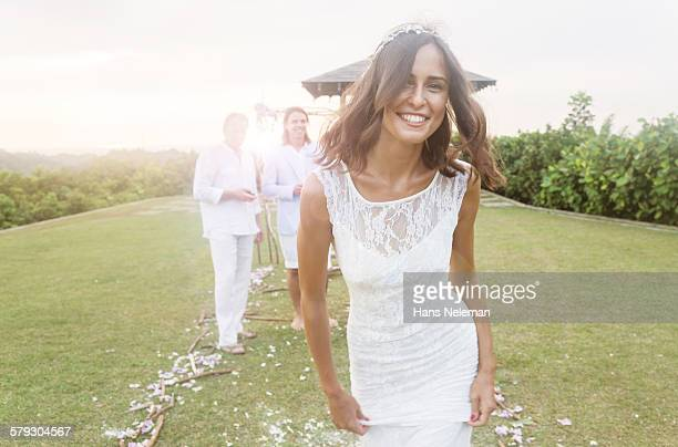young bride during wedding reception in gardens - marryornot stock pictures, royalty-free photos & images