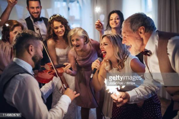 a young bride, groom and other guests dancing and singing on a wedding reception - guest stock pictures, royalty-free photos & images