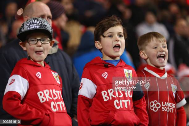 Young Bristol City supporters look on during the Carabao Cup SemiFinal Second Leg match between Bristol City and Manchester City at Ashton Gate on...